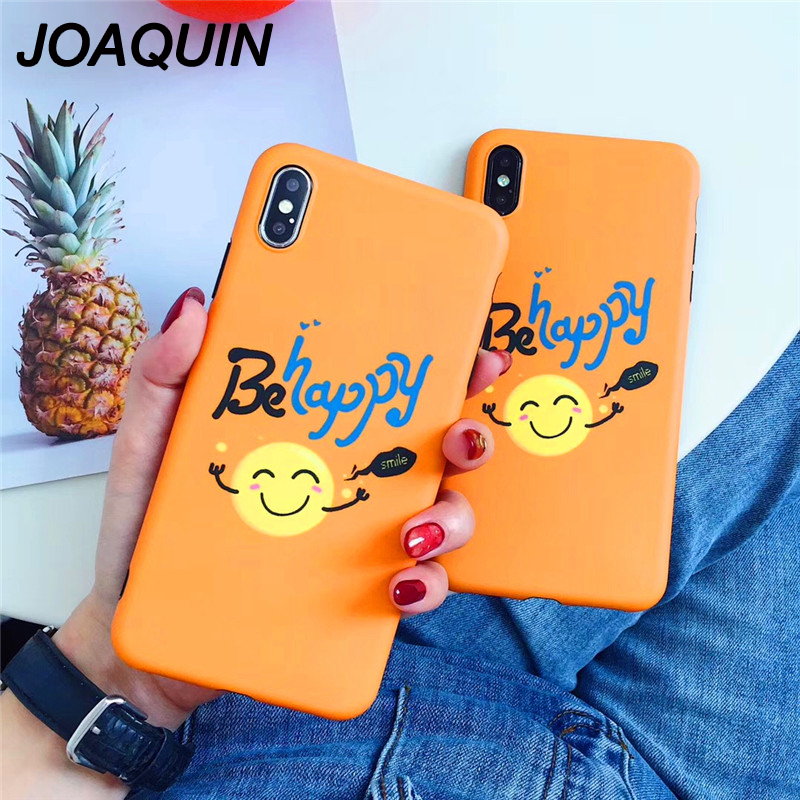 Luxury Smile Face Emoji Case For iphone 6s Phone Cases For iphone X 6 6S 7 8 Plus Xs Max XR Soft Orange Cartoon Be Happy Cover winnie the pooh iphone case
