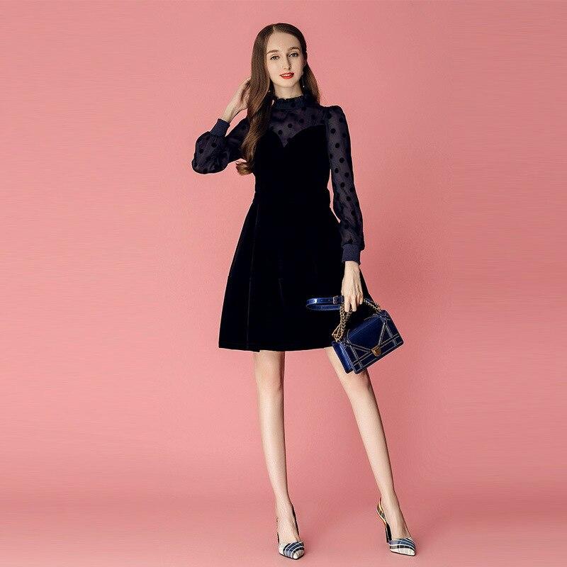 Plus Size Ladies Winter Dress Elegant Stand Lantern Sleeve Gold Velvet Dress Women Corset Navy Blue Mini Dress Women Vestidos in Dresses from Women 39 s Clothing