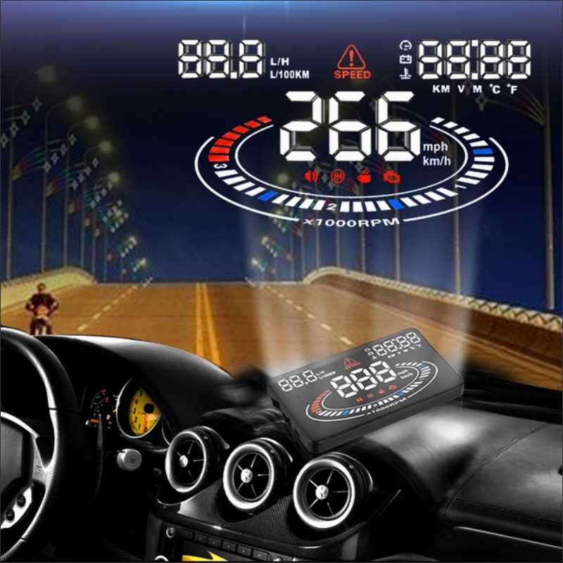 Car Head Up Display E300 - Refkecting Car Informations On the Windshield - Saft Driving Screen Projector / OBD Connector rastp m9 hud 5 5 inch head up windscreen projector obd2 euobd car driving data display speed rpm fuel consumption rs hud011