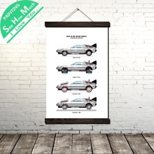 Back to the Futur Tribute Evolution of Car Scroll Painting Canvas Vintage Poster and Prints Wall Art Picture Home Decoration