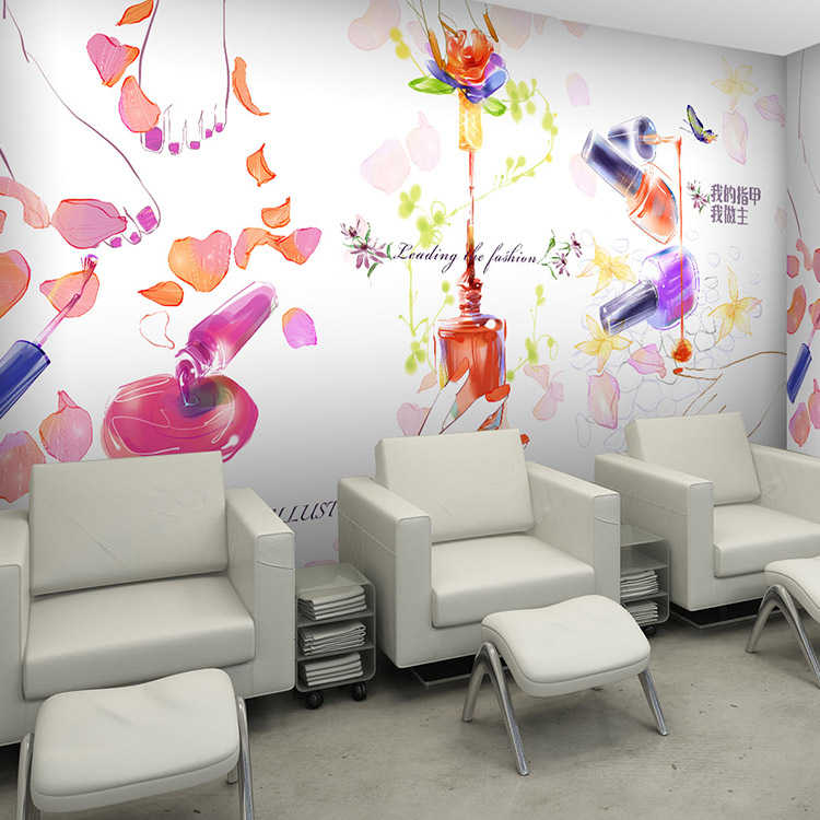 Free Shipping 3D Personality fashion cosmetics shop Manicure ink graffiti wallpaper beauty salon clothing store custom mural