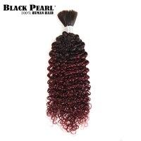 Black Pearl Remy Human Hair Brazilian Kinky Curly Bulk Hair For Braiding No Weft Braids Hair Bundles Ombre T1B/99J Bundles