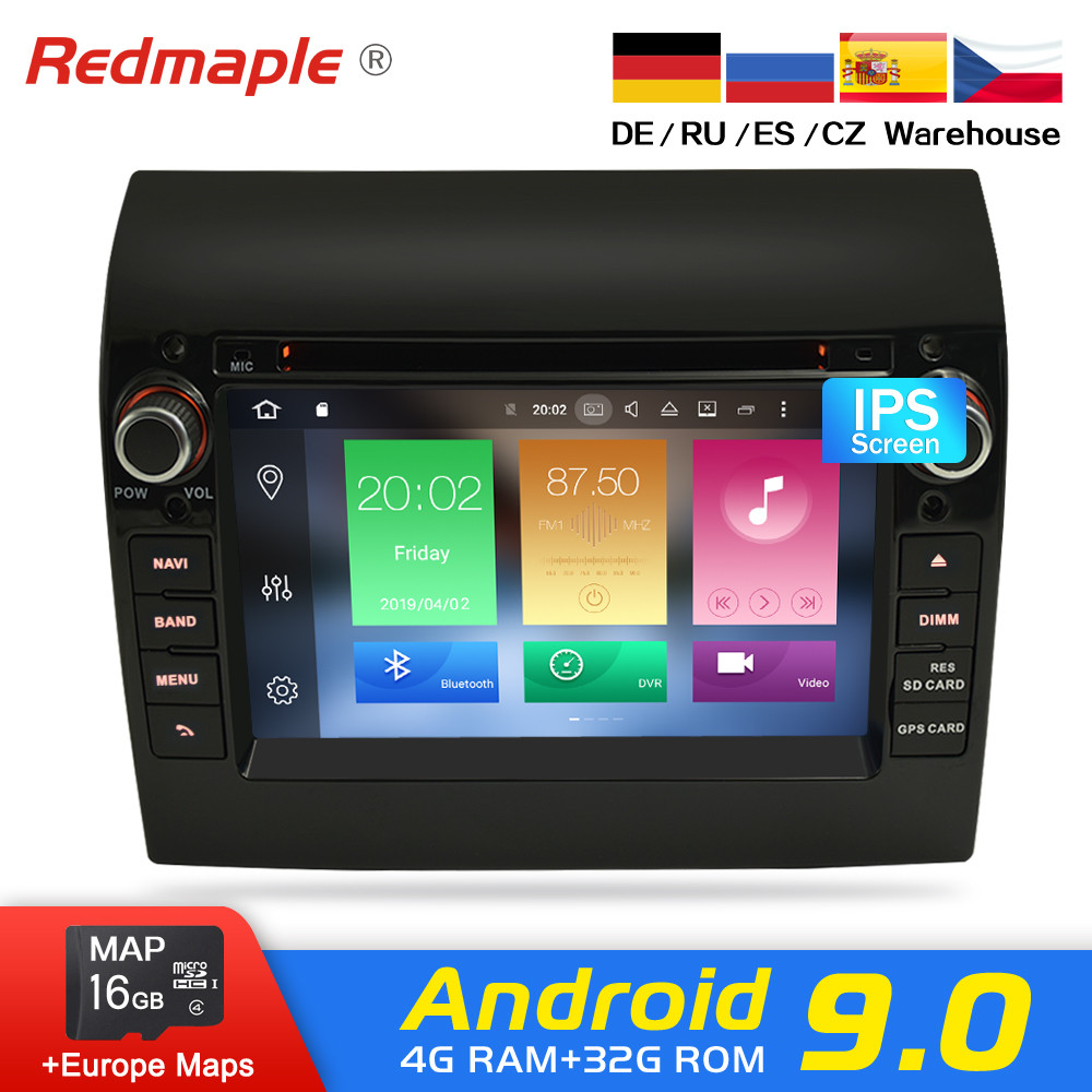 Android 9.0 Car Radio DVD Player GPS Multimedia Stereo For Fiat Ducato 2008-2015 Citroen Jumper Peugeot Boxer Video Navigation