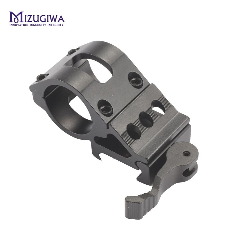 MIZUGIWA 45 Degree 1 25.4mm Ring Offset Flashlight Laser Scope Ring 20mm Rail Picatinny Rail Quick Release Base Hunting Caza