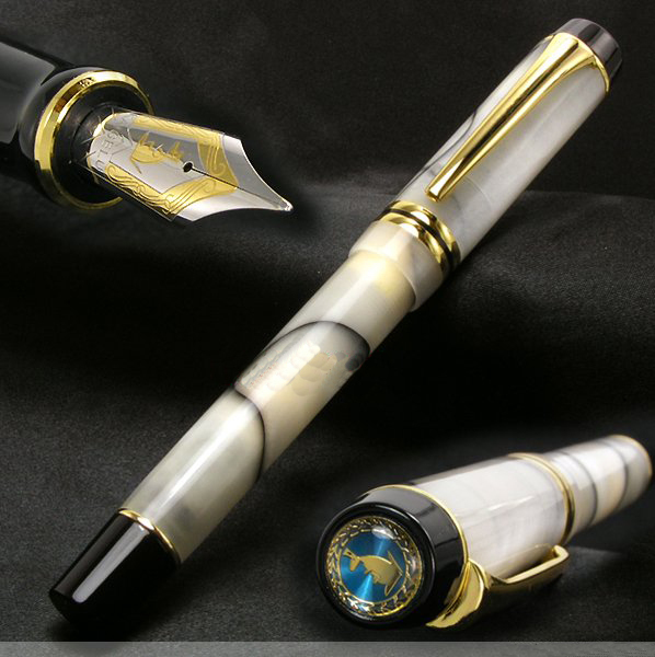 Kangaroo Free shipping NIB Ping cursive italic style celluloid 0.7MM top DUOFOLD Unique design acrylic fountain Pen