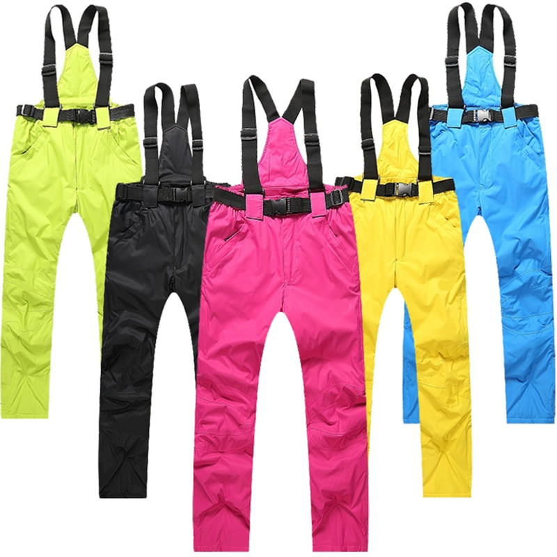 High Quality Winter Waterproof Ski Pants Couples Thick Warm Snowboard Pants with Detachable Straps Skiing Skate Trousers