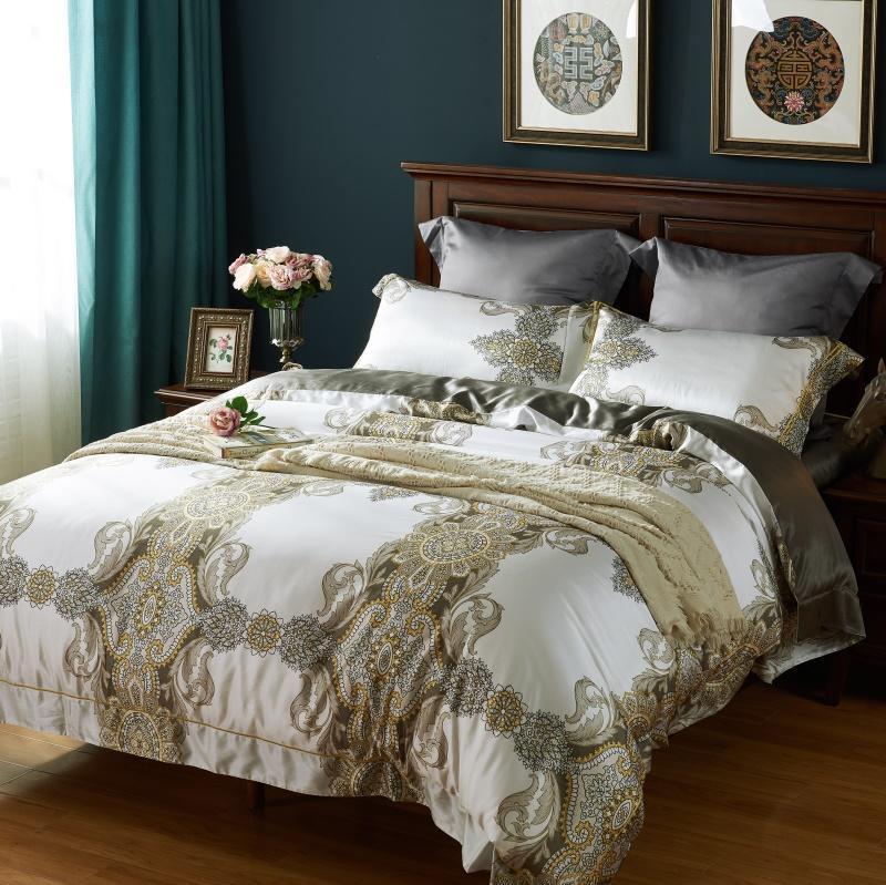 white and golden silk bedding set queen size comforter ...
