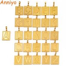 Anniyo(одна штука) квадратные Подвески с буквами, начальный золотой цвет, только кулон для мужчин и женщин, Английский алфавит, ювелирные изделия, подарки#104006P