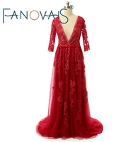Real Photo Zipper Back Red Half Sleeves Wedding Dress Beads Lace Applique Deep V Neck Wedding