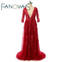 Real Photo Zipper Back Red Half Sleeves Wedding Dress Beads Lace Applique Deep V Neck Wedding