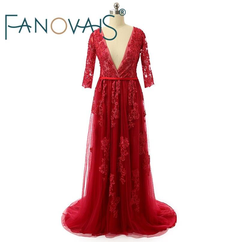 Real Photo Zipper Back Röd Half Sleeves Bröllopsklänning Pärlor Lace Applique Djupa V-Hals Bröllopsklänningar 2017 Abito da Sposa Rosa