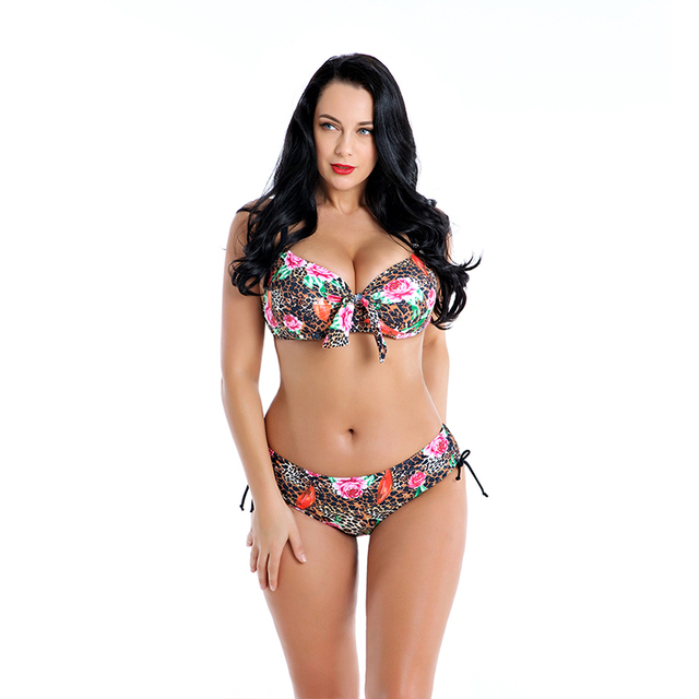 5bb96a19af Large Size Bikinis Woman Leopard Print Swim Wear Padded Tops Push Up Bikini  Women Swimsuit Plus Size Bathing Suit Underwire FABO