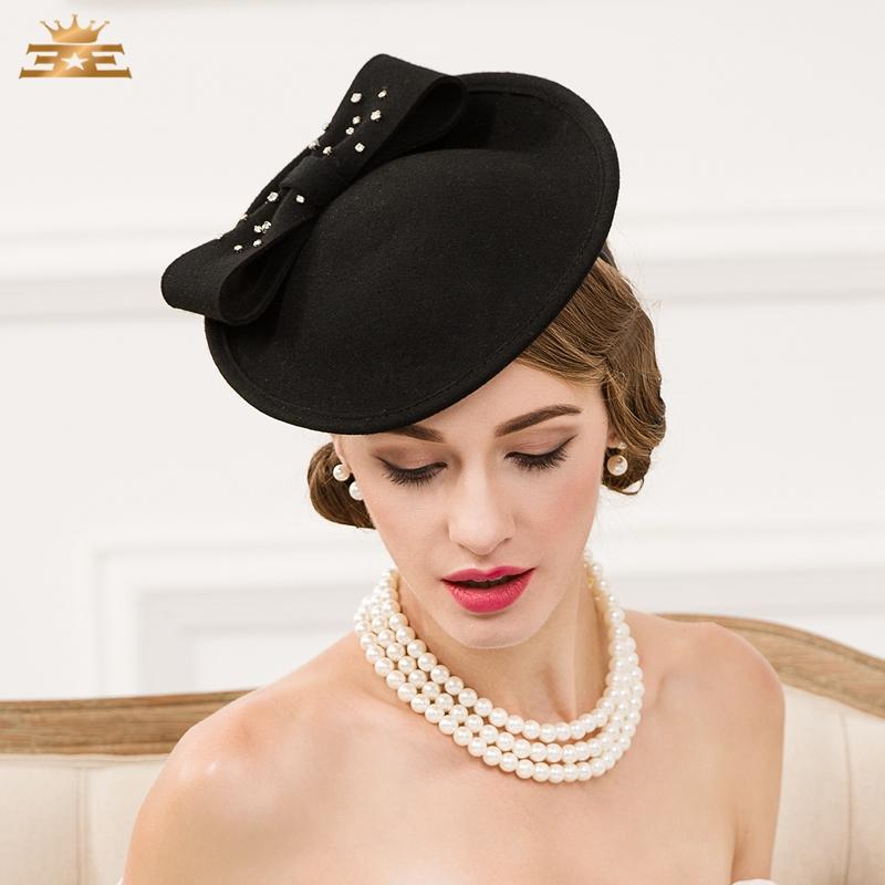 fe2a7e3de7310 Lady Vintage Wool Hat Black Wool Pillbox Hat with Veil Wedding Party  Fascinator Hats for Women Chapeau Pour Mariage