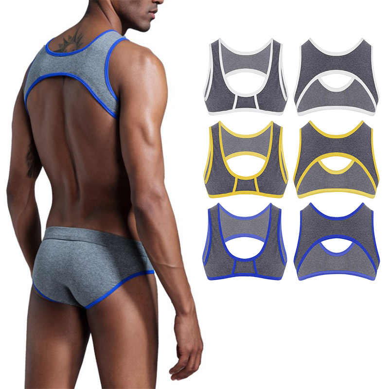 acd792e71cd968 TiaoBug Mens Sleeveless Shoulder Chest Strap Harness Muscle Stretch Vest  Fitness Crop Top Sexy Gay Male