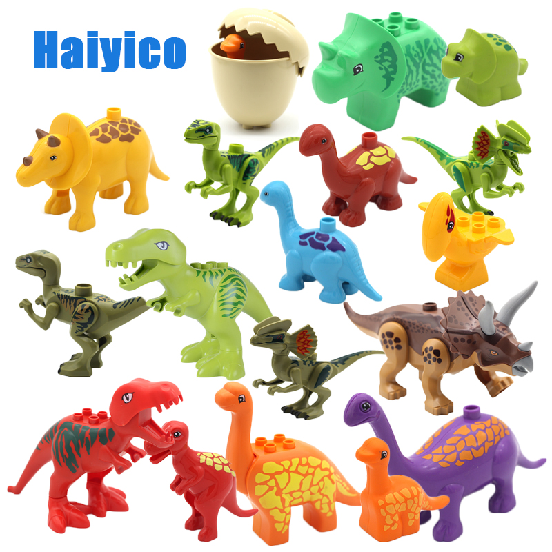 Large size Animal Assembling Model Building Blocks Zoo Dinosaur Sets Bricks Compatible with Duplo Baby Classic Toys For children цена