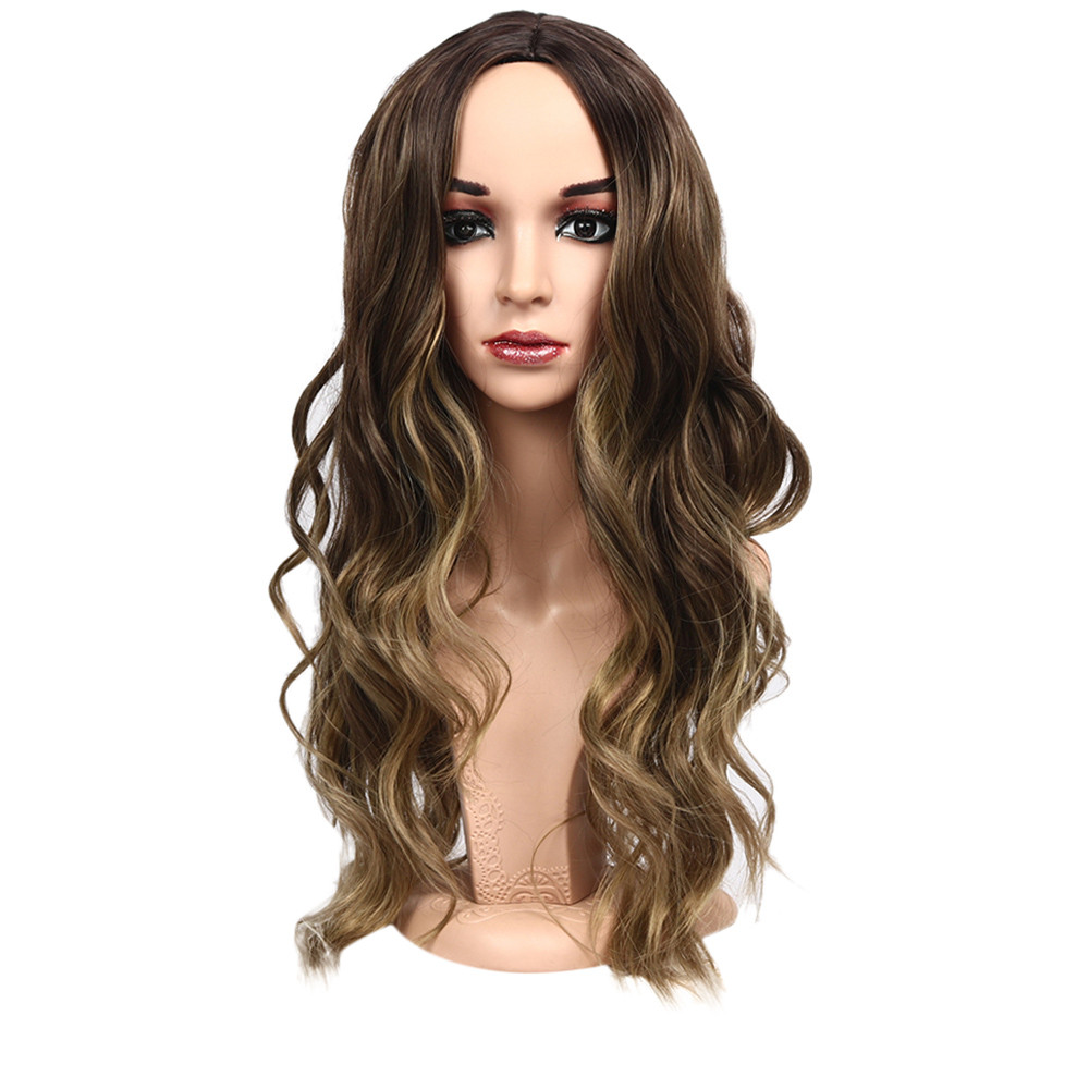 Rush Sale! All Ages Brand-new Long Curly Wavy Synthetic Wig Gray Brown Natural Full Wigs For Women 28 Inches Gift Dropshipping