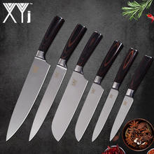 hot deal buy xyj 6pcs stainless steel kitchen knives 3.5,5,5,7,8,8 inch chef slicing santoku utility paring knives cooking accessories
