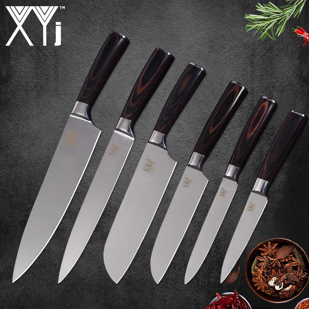 XYj 6pcs Stainless Steel Kitchen Knives 3.5,5,5,7,8,8 inch Chef Slicing Santoku Utility Paring Knives Cooking Accessories