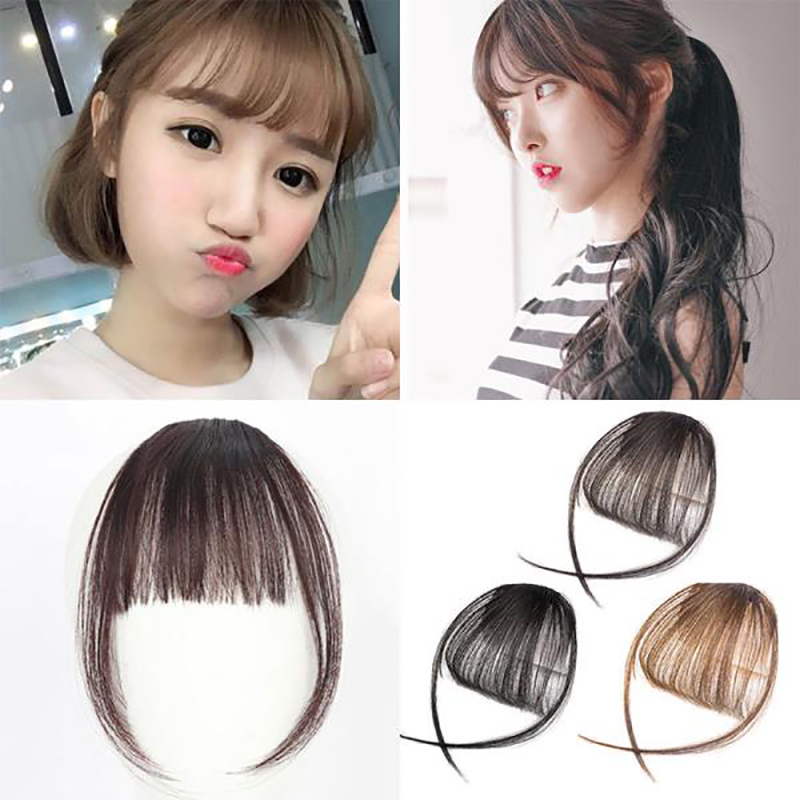 BUQI 4Color Clip In Hair Bangs Hairpiece Synthetic Fake Bangs Hair Piece Clip In Hair Extensions