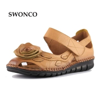 40 Summer Vintage Handmade Leather Sandals For Woman 2017 New National Style Soft Soles Flower Anti