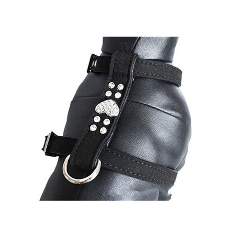 2018 Autumn New Pink Leather Dog Collar Chain Harness Rhinestone Heart Shape Soft Fiber Vest Harness Lead Leash Pet Accessories