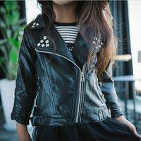 New Spring Brand Girls Leather Jacket Fashion Kids Faux Leather Jacket Girls Coats Turn Down Rivet Girls Motorcycle Jacket 2-7T