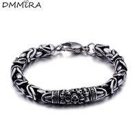 Fashion Punk Skeleton Chain Bracelets Stainless Steel Retro Silver Black Skull Safety Pattern Bracelets Jewelry For