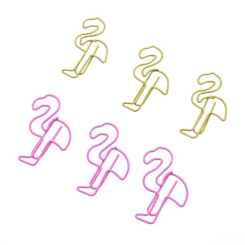 10pcs Creative Metal Shaped Paper Clip Office School Supplies Cute Cartoon Pink Flamingo Girl Heart Mini Flamingo Note Clip