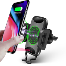 Car Phone Holder Auto Mount Qi Wireless Fast Charger Charging Automatic Infrared Sensor For iPhone X 8 Plus Samsung S9 S8 Note 8 car phone holder auto mount qi wireless fast charger charging automatic infrared sensor for iphone x 8 plus samsung s9 s8 note 8