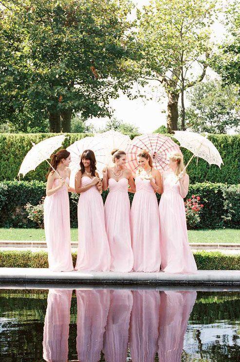 Романтический милая полная длина розовый платья невесты длинные сексуальные с открытой спиной шифон на заказ невесты горничная платья