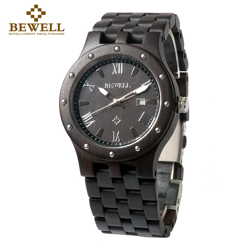 BEWELL W109A Black Sandarwood Wood Watch Men Watches Top Brand Luxury Round Dial Design Wristwatch Quartz With Paper Box Gift bobo bird brand new sun glasses men square wood oversized zebra wood sunglasses women with wooden box oculos 2017