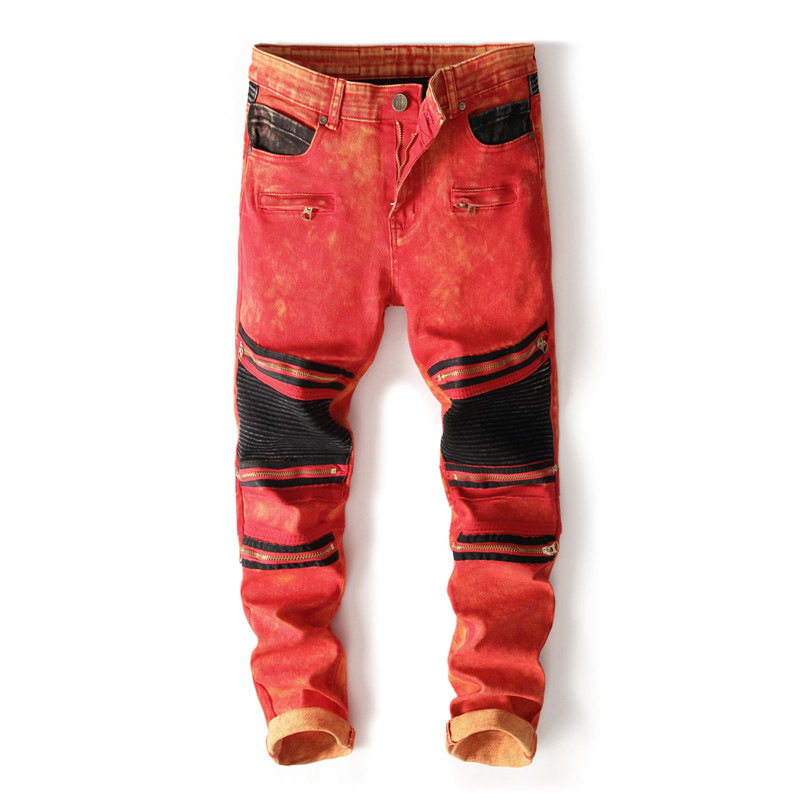 2018 New Mens Knee Zipper Jeans Red&Black Destroyed Ripped Hole Nightclubs Skinny Denim Pants Fashion Street Zipper Trousers