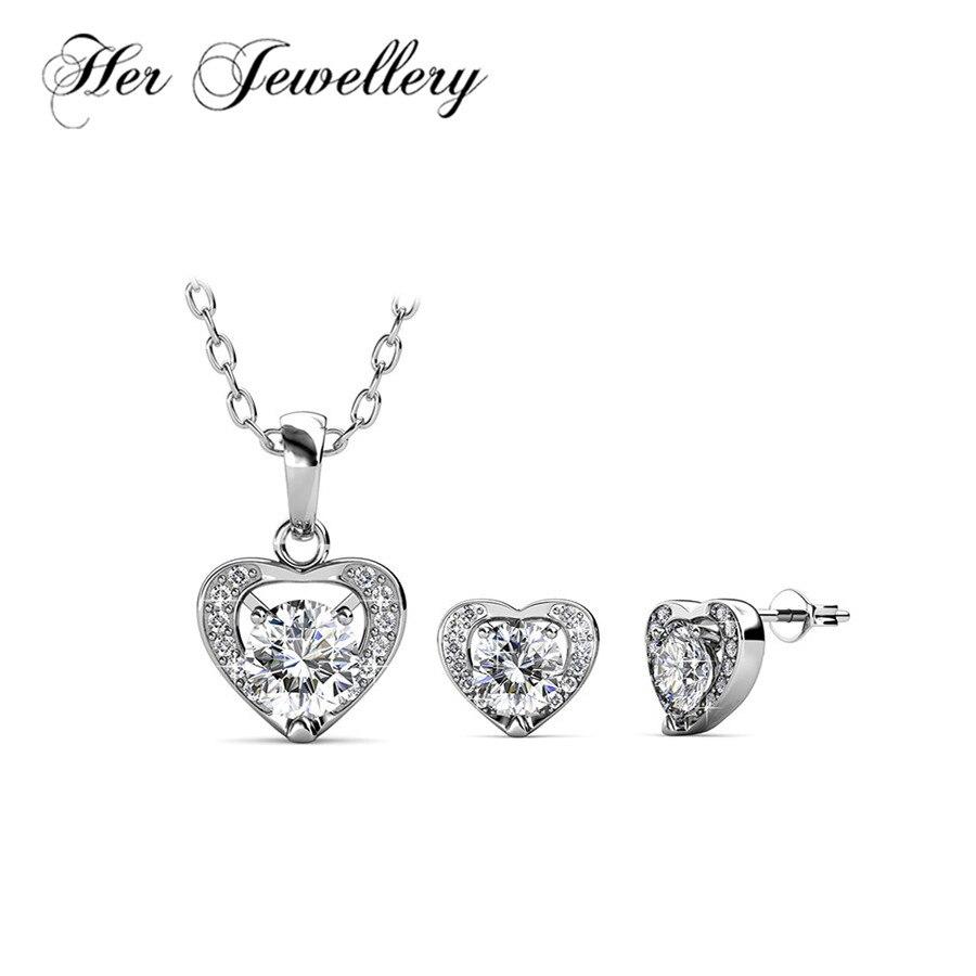 Ses Bijoux bijoux coeur ensemble pour femmes Lovers bijoux Fait avec crystaux de swarovski HS065