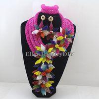 2019 Роскошные африканские бусы комплекты ювелирных изделий Индии в нигерийском стиле с цветами и бусинами из бисера Свадебные ожерелье ювел