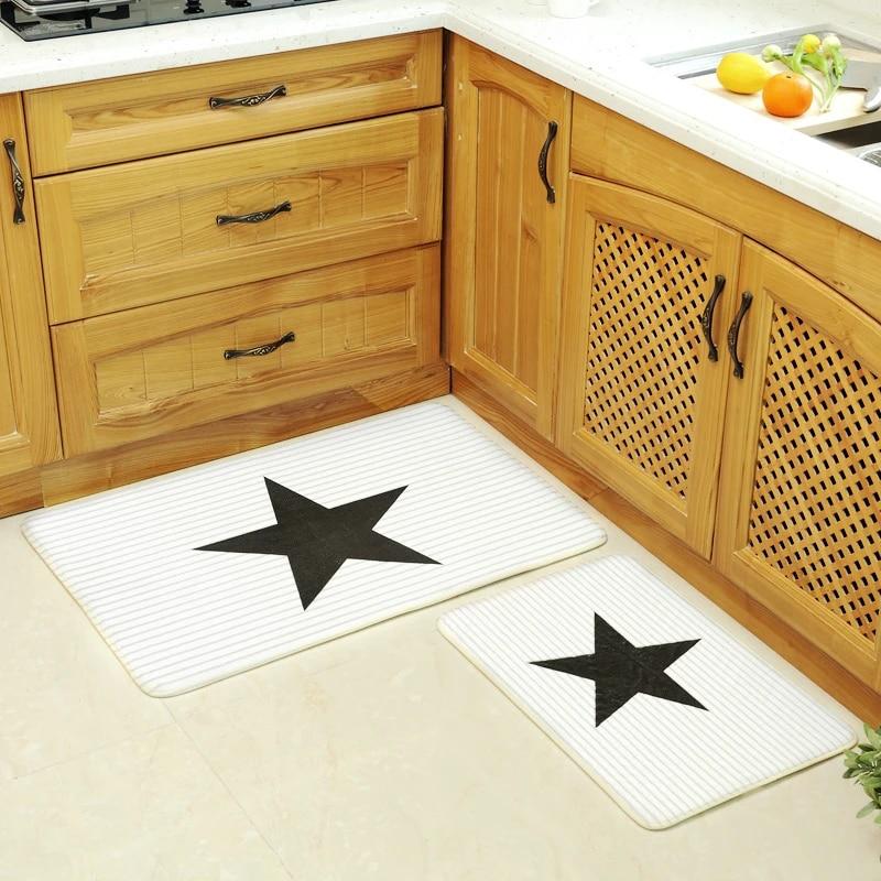 paysota tapis de cuisine de style coreen noir et blanc pour porte antiderapant