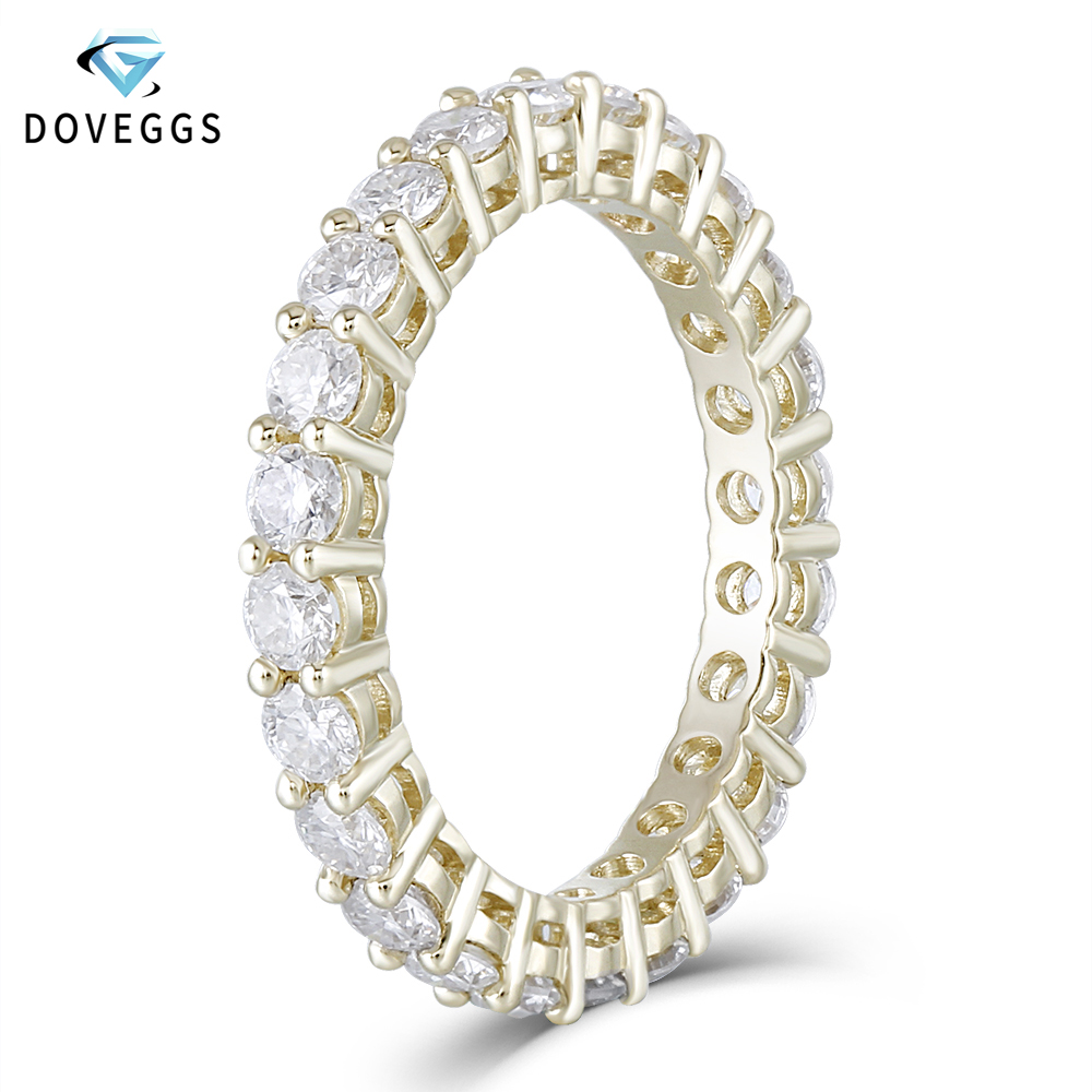 DovEggs Classic 10K Yellow Gold 2 5mm Moissanite Eternity Wedding Band for Women Gift Ladies Stackable