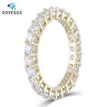 DovEggs Klassieke 10 K Geel Goud 2.5mm Moissanite Eternity Wedding Band voor Vrouwen Gift Dames Stapelbaar Gouden Trouwring
