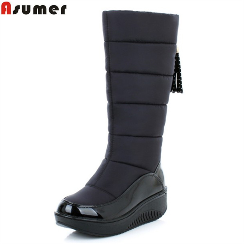 ASUMER 2017 new winter warm snow boots fashion platform fur cotton shoes wedges heels knee high boots women pu leather boots 11cm heels 2013 new winter high platform soled high heeled snow boots female side zipper rabbit fur thick heels snow shoes h1852