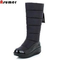 AISIMI New Arrive Winter Warm Snow Boots Fashion Platform Fur Cotton Shoes Flat Heels Knee High