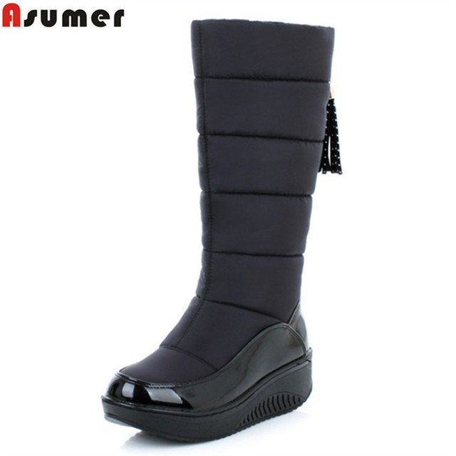 ASUMER 2018 new winter warm snow boots fashion platform fur cotton shoes wedges heels knee high boots women pu leather boots
