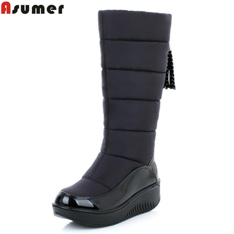 Asumer/2018 Новые теплые зимние ботинки модные на платформе с мехом туфли из хлопка на танкетке до колена высокие сапоги женские PU кожаные ботинки