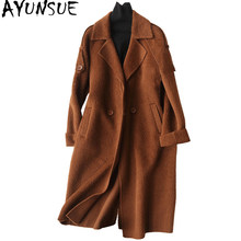 AYUNSUE Fashion Long Wool Coat Women Alpaca Cashmere Coats 2019 Autumn Winter Wool Jackets Overcoat manteau femme hiver 37032(China)