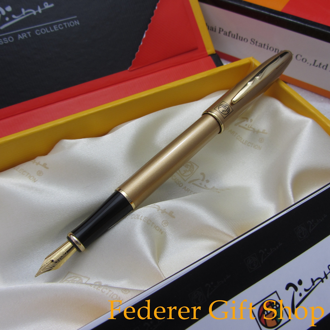 Original Box Picasso U606 Gold Fountain Pen Business Gift Pen Ultra-fine Ink Pen 9901 fine financia pen student pen art fountain pen 0 38 0 5 0 8mm optional gift box set