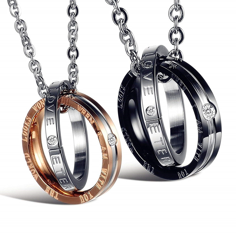 His & Hers Matching Titanium Stainless Steel Couple Pendant Necklace Korean Love Style with A Lucky Bean Jewelry for Men Women