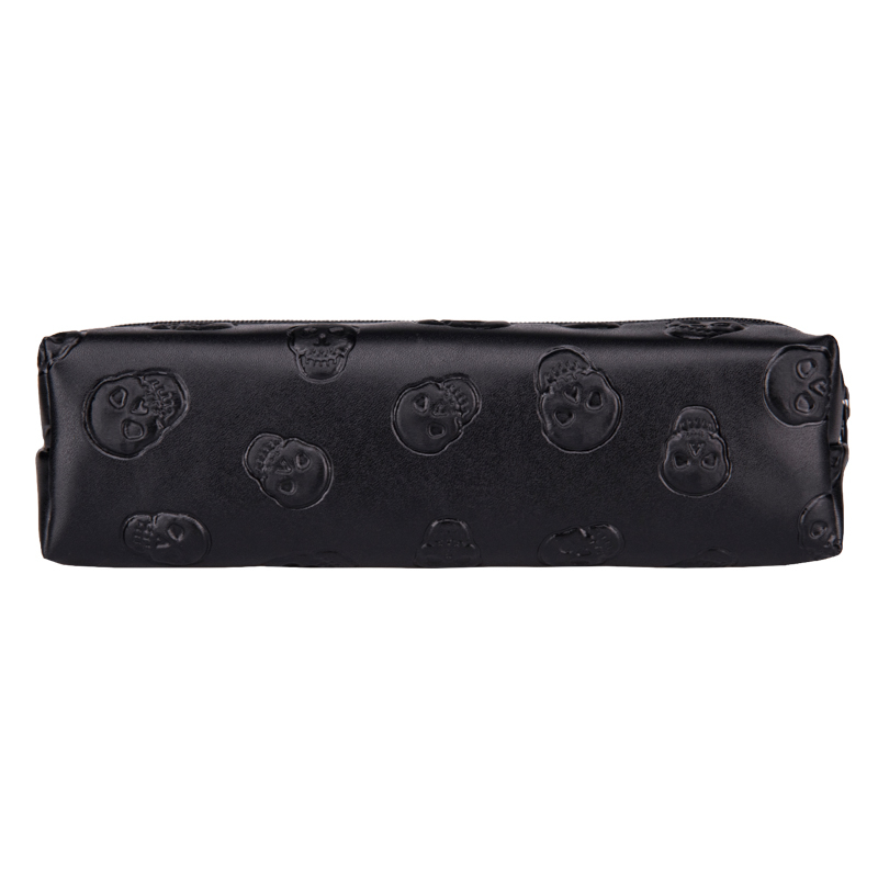 Skull black Leather makeup bag purse organizer travel 2018 Fashion pouch bolsos PU cosmetic bag pencil case maleta de maquiagem unicorn 3d printing fashion makeup bag maleta de maquiagem cosmetic bag necessaire bags organizer party neceser maquillaje