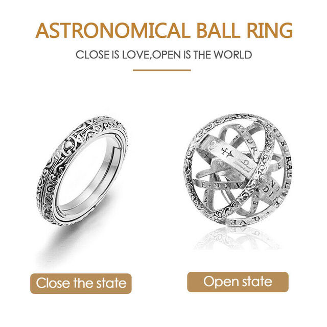 Astronomical Sphere Ball Ring Cosmic Finger Ring Couple Lover Jewelry Gifts TY53