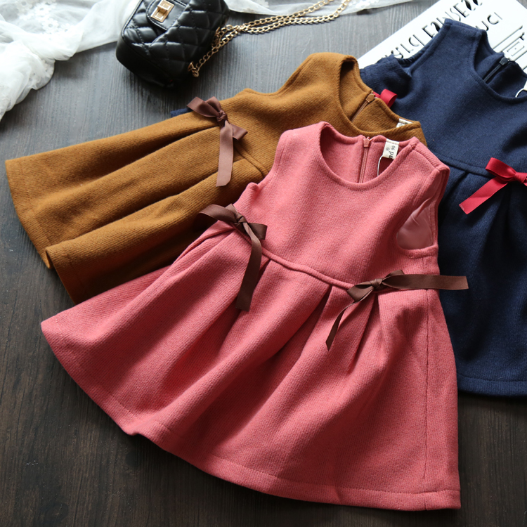 Children Girls Bow Ruched Dresses Spring Autumn Baby Princess Solid Clothing Wholesale Boutique Kids Sleeveless Clothes 5pcs/LOT