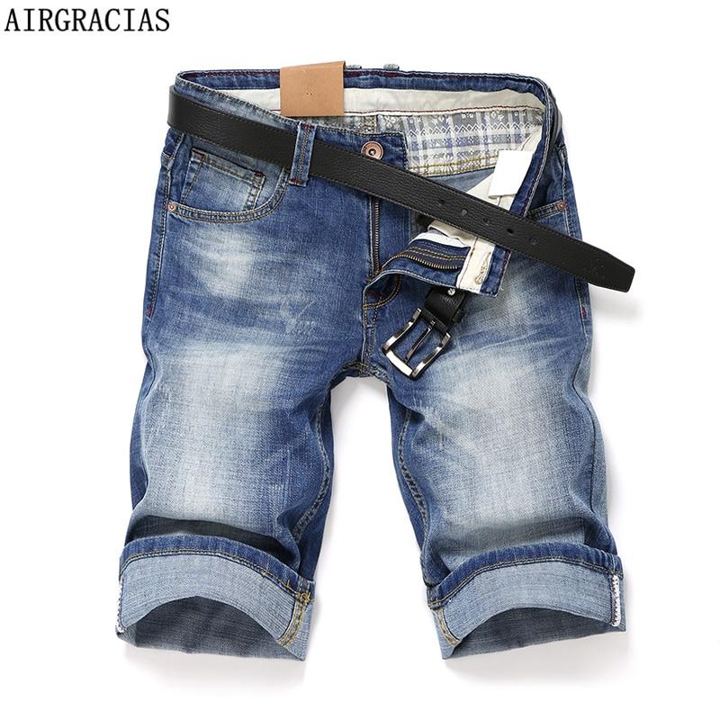 Airgracias high quality short jeans men blue color straight denim jeans shorts mens jeans knee length