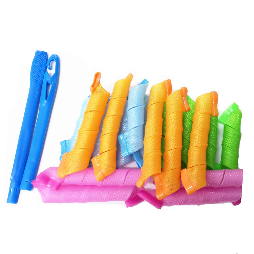BellyLady 18pcs Hair Rollers Snail Rolls Styling Curler Tools, Easy At Home DIY Natural Way