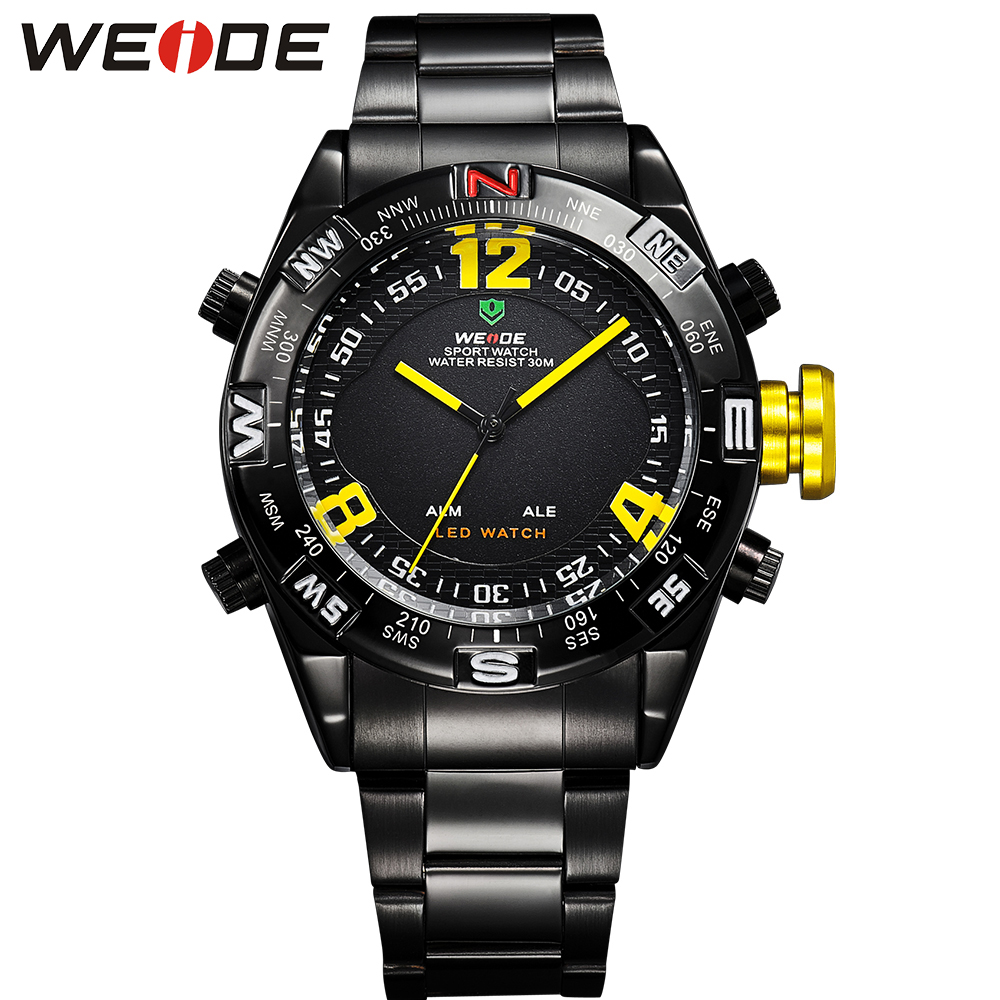 WEIDE Multifunctional Analog-Digital Display Watch Men Quartz LED Dual Movement Stainless Steel Band Black Round Shape Watches round dual two time display dual movt steel band quartz watch for men oulm 9316 black